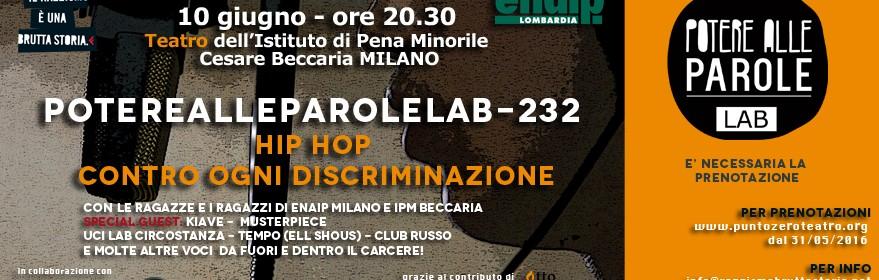 10 giugno – 20.30 – evento di Hip Hop contro ogni discriminazione al carcere minorile Beccaria